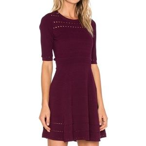 Milly Textured Stitch Flare Dress Size Small